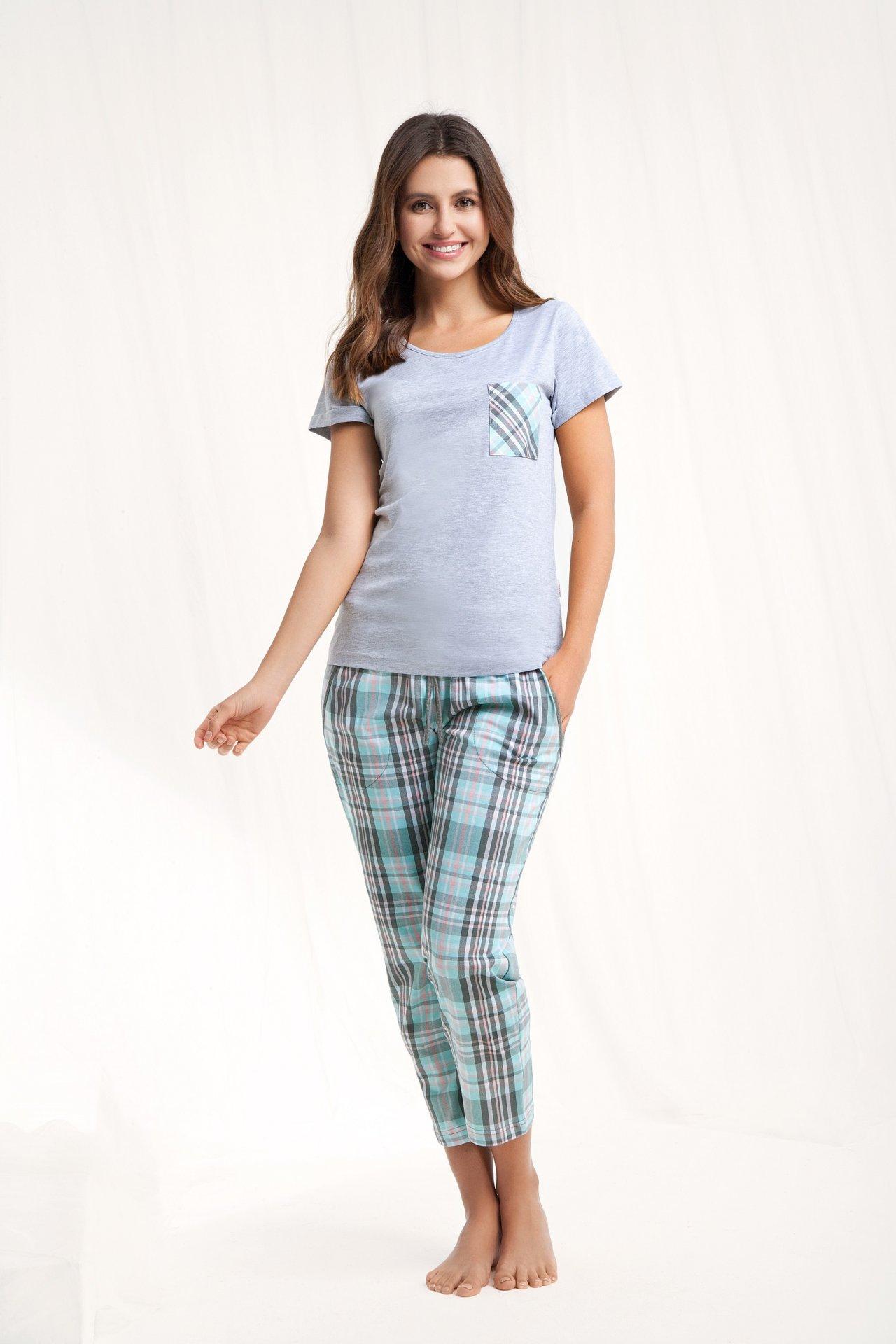 Piżama damska z kieszonką w kratę Luna 468 KR