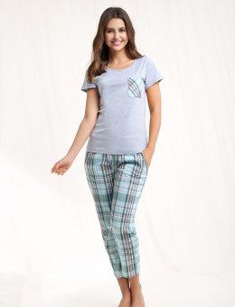 Piżama damska z kieszonką w kratę  468 KR